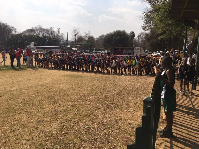 Cross-country starting line with runners
